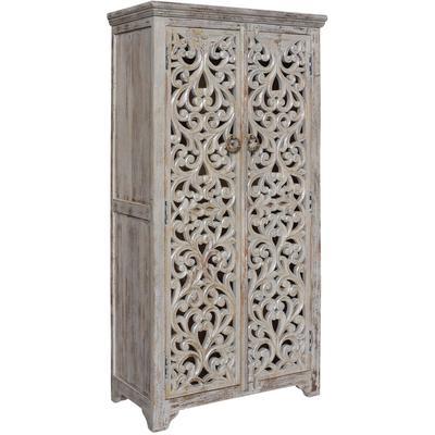 Bengal Manor Mango Wood Hand Carved Open Design 2-Door Tall Cabinet