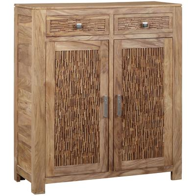 Bengal Manor Mango Wood 2-Drawer 2-Door Strips of Wood Cabinet