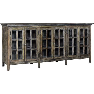 Bengal Manor Large Acacia Wood 6-Door Window Pane Sideboard