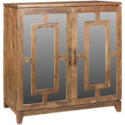 Bengal Manor Acacia Wood 2-Door Mirrored Cabinet