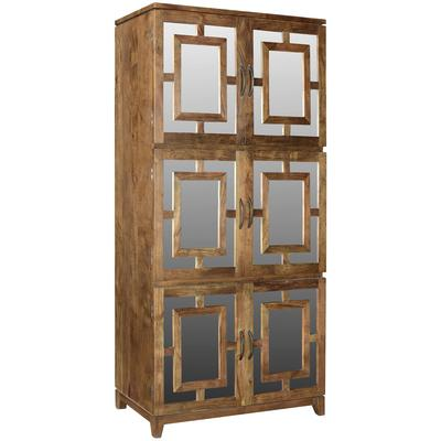 Bengal Manor Acacia Wood 6-Door Mirrored Tall Cabinet