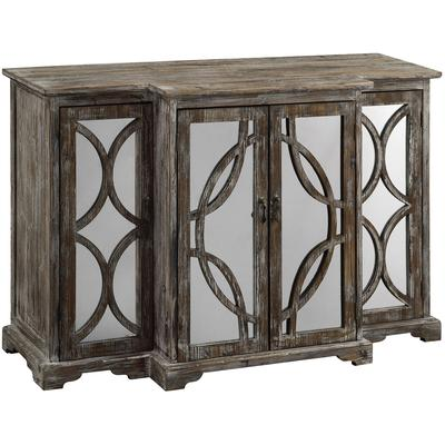 Galloway 4-Door Rustic Wood and Mirror Sideboard
