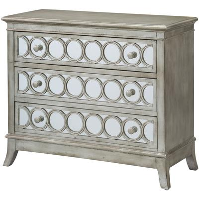 Beverly Gold Leaf Mirrored Circle 3-Drawer Chest