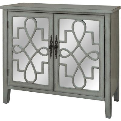 Isabelle 2-Door River Mist and Mirrored Cabinet