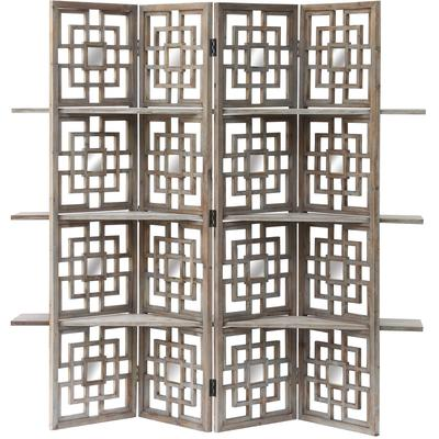 Spring Creek Driftwood and Mirrored Screen with 3 Shelves