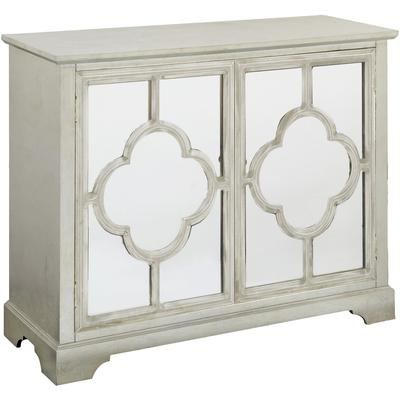 Camille Silver Leaf 2 Mirrored Door Quatrefoil Patterned Cabinet