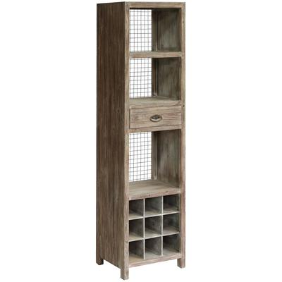 Desoto 1-Drawer Tall Wine Cabinet with Rustic Wood and Metal Wire