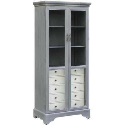 Joanna Two-Tone Cadet Blue Glass Door Cabinet with 5-Drawers in Soft White