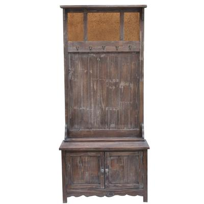 Rustic 2-Door Antique Mirror Hall Tree