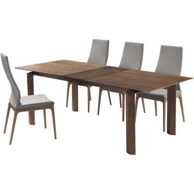 Bonanza and Montney Mid-Century 5-Piece Walnut Wood Dining Set