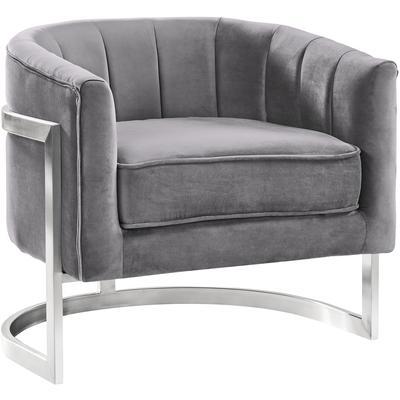 Barbara Contemporary Accent Chair - Grey Velvet