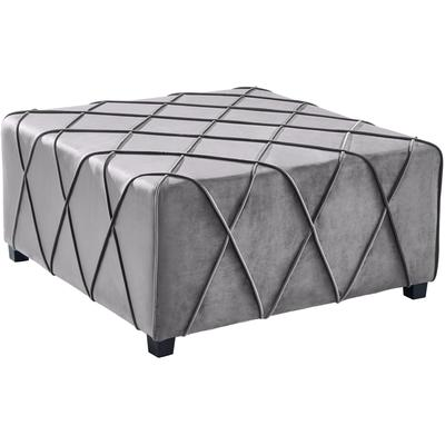 Ventura Contemporary Ottoman - Grey Velvet