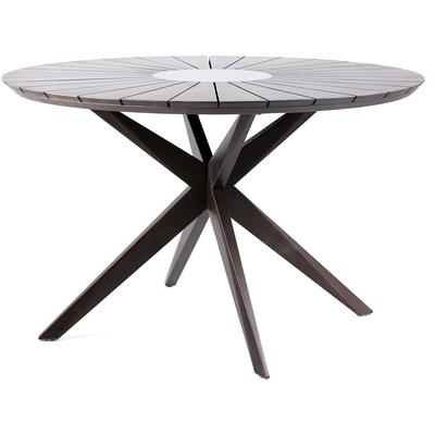 Waikiki Outdoor Patio Round Eucalyptus Dining Table with Grey Super Stone Center - Earth