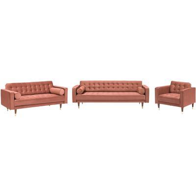Romona Mid-Century Modern Blush Velvet Seating Set