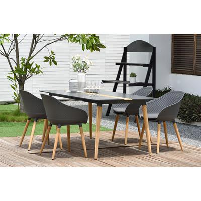 Anabelle 5-Piece Outdoor Dining Set with Dark Grey Chairs
