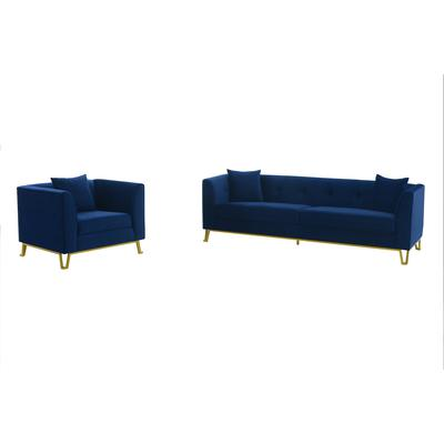Rosemary 2-Piece Blue Fabric Upholstered Sofa and Chair Set