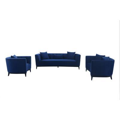Belham 3-Piece Blue Velvet Living Room Seating Set