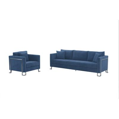 Delhi 2-Piece Blue Fabric Upholstered Sofa and Chair Set
