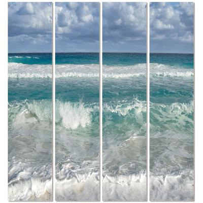 """""""Sea Water and White Sandy Beach"""" Set of 4 Framed Art - 60"""" x 40"""""""