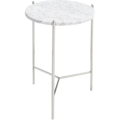 "Bolt 15"" x 24"" Side Table - Natural Carrara White Marble Top"