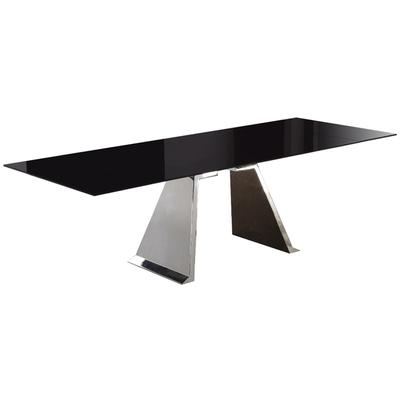 Penthouse Dining Table with Black Glass Top