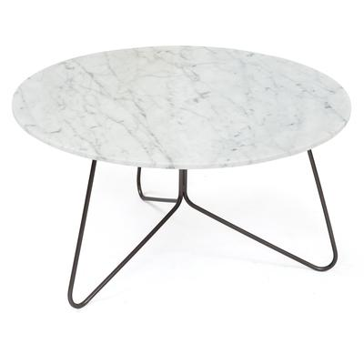 "Tracy 30"" Coffee Table - Natural Carrara White Marble Top"