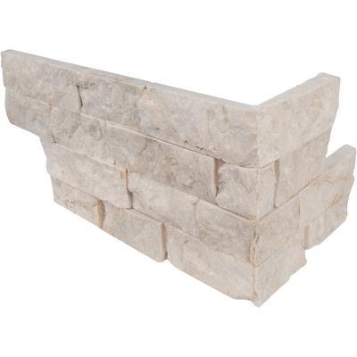 "Tiara Beige 6"" x 18"" Splitface Stacked Limestone Corner Panel"