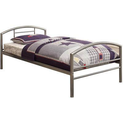 Baines Twin Metal Bed with Arched Headboard - Silver