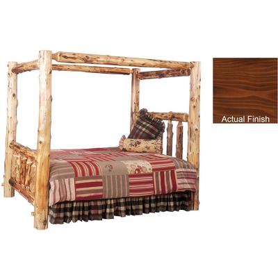 Cedar Log Cal King Canopy Bed - Vintage Cedar