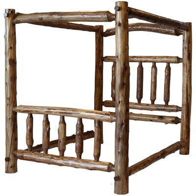 Cedar Log King Canopy Bed - Vintage Cedar