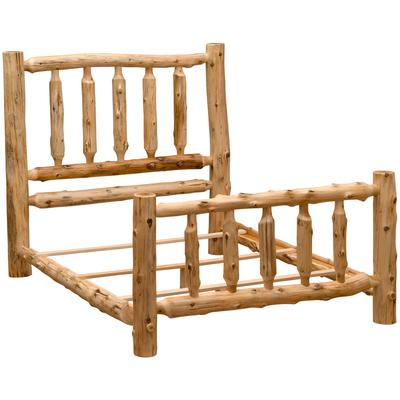 Cedar Log Queen Traditional Bed - Natural Cedar