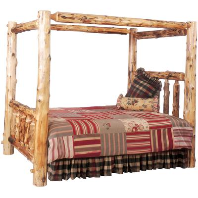 Cedar Log Queen Canopy Bed - Natural Cedar