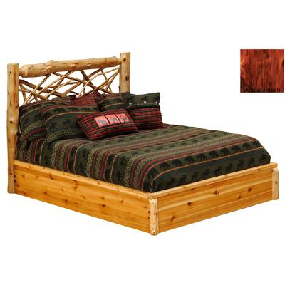 Cedar Log Double Twig Platform Bed - Vintage Cedar
