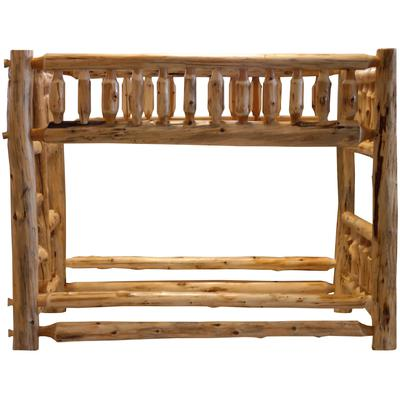Cedar Log Traditional Queen/Single Bunk Bed with Left Ladder - Natural Cedar