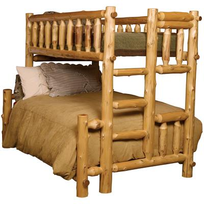 Cedar Log Traditional Double/Double Bunk Bed with Right Ladder - Natural Cedar