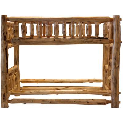 Cedar Log Traditional Queen/Queen Bunk Bed with Right Ladder - Natural Cedar