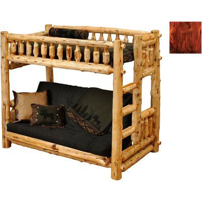 Cedar Log Traditional Futon/Single Bunk Bed with Right Ladder - Vintage Cedar