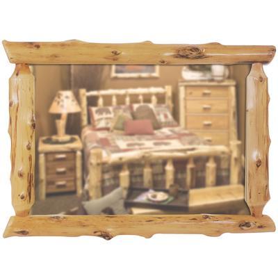 "Cedar Log 32"" x 36"" Half-Log Mirror - Natural Cedar"