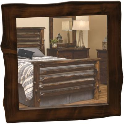 "Cedar Log 36"" x 36"" Half-Log Mirror - Natural Cedar"
