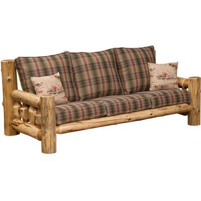 Cedar Log Sofa with Upgrade Fabric - Natural Cedar