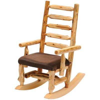 Cedar Log Rocking Chair with Standard Leather - Natural Cedar