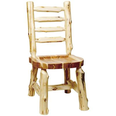 Cedar Log Ladder-Back Side Chair with Wood Seat - Natural Cedar