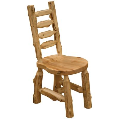 Cedar Log Ladder-Back Bistro Side Chair with Wood Seat - Natural Cedar