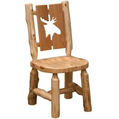 Cedar Log Cut-out Moose Side Chair with Wood Seat - Natural Cedar