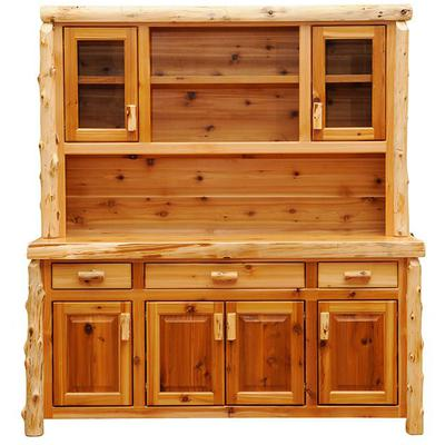 "Cedar Log 75"" Buffet and Hutch - Natural Cedar"