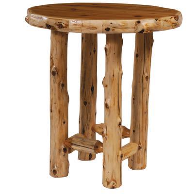 "Cedar Log 40"" Round Pub Table - Natural Cedar"
