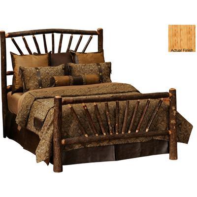 Hickory Log Queen Sunburst Bed - Natural Hickory