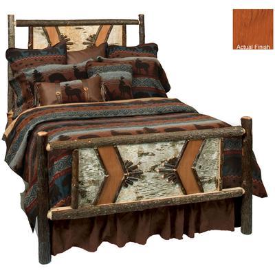 Hickory Log Single Adirondack Bed - Cinnamon