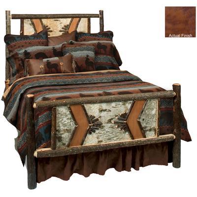 Hickory Log Single Adirondack Bed - Cognac