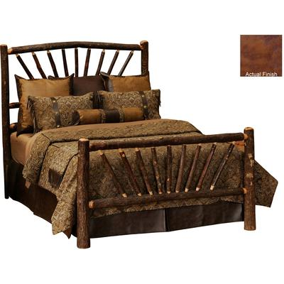 Hickory Log Single Sunburst Bed - Cognac